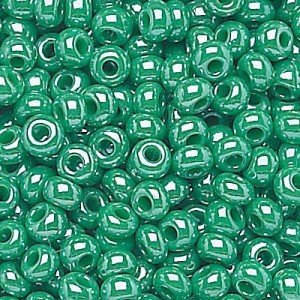 11/0 Green Opaque Luster Czech Seed Beads - Hank: 12 Strings of 20 Inch (Apx 36g)
