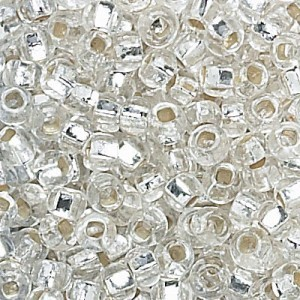 8/0 Crystal Silver-Lined Strung Czech Seed Beads