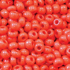 11/0 Cherry Red Opaque Czech Seed Beads - Hank: 12 Strings of 20 Inch (Apx 36g)