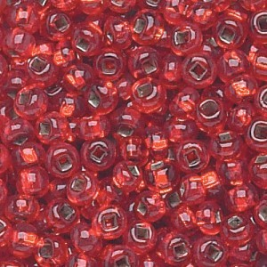 11/0 Light Ruby Silver-Lined Czech Seed Beads - Hank: 12 Strings of 20 Inch (Apx 36g)