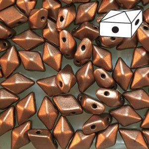 DiamonDuo™ 2-Hole Czech Glass Beads 5x8mm Matte Bronze Copper - 50 Gram Bag (Apx 340 Pcs)
