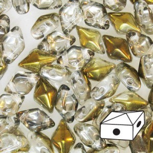 DiamonDuo™ 2-Hole Bead 5x8mm Crystal Bronze Capri - 50 Gram Bag (Apx 340 Pcs)