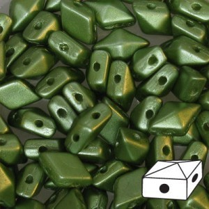 DiamonDuo™ 2-Hole Bead 5x8mm Pastel Olivine - 50 Gram Bag (Apx 340 Pcs)