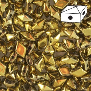 DiamonDuo™ 2-Hole Czech Glass Beads 5x8mm Full Aurum - 50 Gram Bag (Apx 340 Pcs)