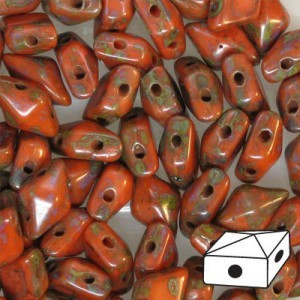 DiamonDuo™ 2-Hole Czech Glass Beads 5x8mm Coral Picasso - 50 Gram Bag (Apx 340 Pcs)