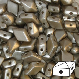 DiamonDuo™ 2-Hole Czech Glass Beads 5x8mm Cocoa Airy Pearl - 50 Gram Bag (Apx 340 Pcs)