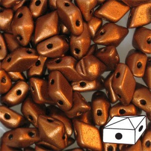 DiamonDuo™ 2-Hole Czech Glass Beads 5x8mm Matte Copper - 50 Gram Bag (Apx 340 Pcs)