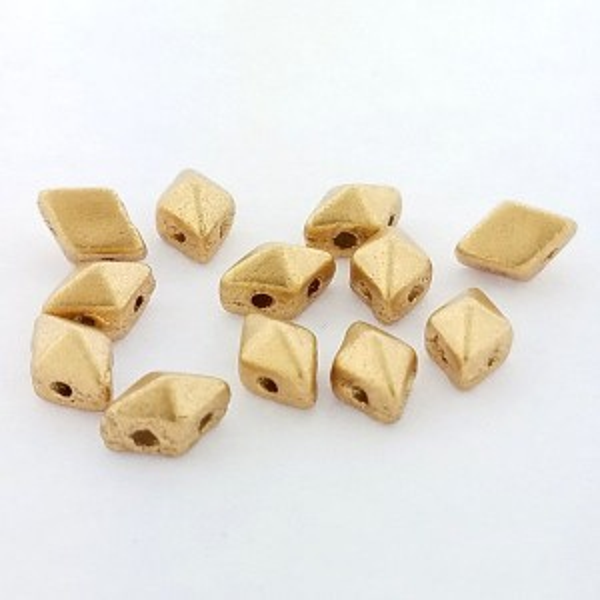 DiamonDuo™ Mini 2-Hole Czech Glass Beads 4x6mm Matte Gold - 25 Gram Bag (Apx 325 Pcs)