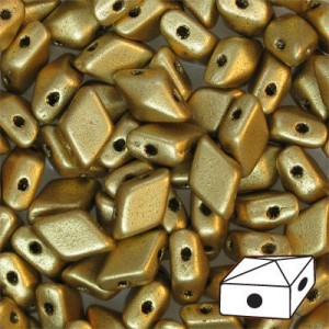 DiamonDuo™ 2-Hole Bead 5x8mm Matte Gold - 50 Gram Bag (Apx 340 Pcs)