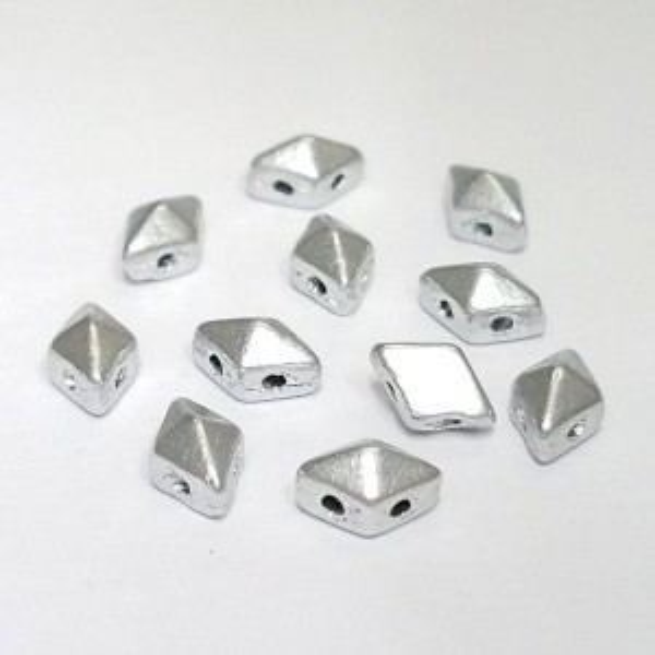 DiamonDuo™ Mini 2-Hole Czech Glass Beads 4x6mm Matte Silver - 25 Gram Bag (Apx 325 Pcs)