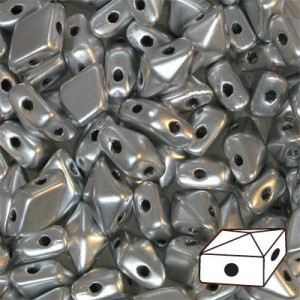 DiamonDuo™ 2-Hole Bead 5x8mm Matte Silver - 50 Gram Bag (Apx 340 Pcs)