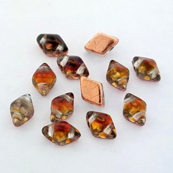 DiamonDuo™ Mini 2-Hole Czech Glass Beads 4x6mm Prismatic Phoenix - 25 Gram Bag (Apx 325 Pcs)