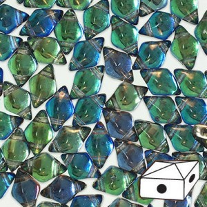 DiamonDuo™ 2-Hole Bead 5x8mm Prismatic Peacock - 50 Gram Bag (Apx 340 Pcs)