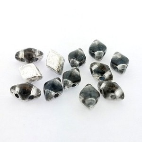 DiamonDuo™ Mini 2-Hole Czech Glass Beads 4x6mm Prismatic Stormy Seas - 25 Gram Bag (Apx 325 Pcs)