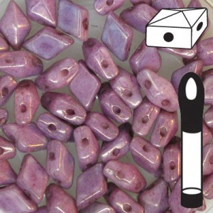 DiamonDuo™ 2-Hole Bead 5x8mm Chalk Lumi Purple - 12 Gram Vial (Apx 80 Pcs)