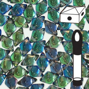 DiamonDuo™ 2-Hole Bead 5x8mm Prismatic Peacock - 12 Gram Vial (Apx 80 Pcs)