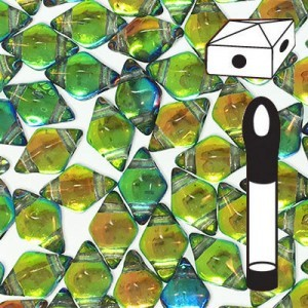 DiamonDuo™ 2-Hole Bead 5x8mm Prismatic Tropics - 12 Gram Vial (Apx 80 Pcs)