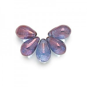 6x9mm Lumi Amethyst Side Drill Glass Tear Drops Loose (300pc)