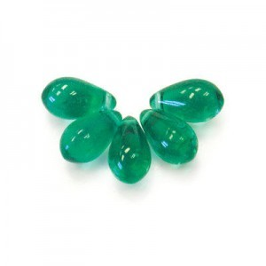 6x9mm Teal Side Drill Glass Tera Drops Loose (300pc)