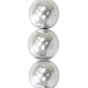 6mm Matte Silver Round Smooth Druk Czech Beads - 7 Inch Strand (Apx 29 Beads)