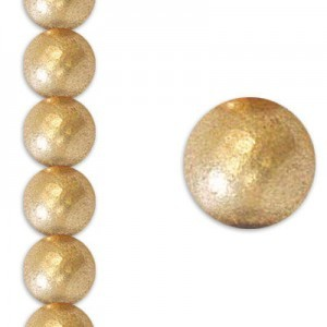 10mm Matte Gold Round Smooth Druk Czech Beads - 7 Inch Strand (Apx 18 Beads)