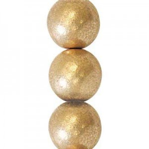 6mm Matte Gold Round Smooth Druk Czech Beads - 7 Inch Strand (Apx 29 Beads)