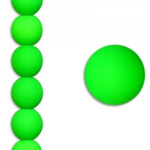 8mm Bright Neon Green Smooth Round Czech Glass - 7 Inch Strand (Apx 22 Beads)