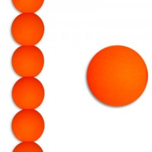 8mm Bright Neon Orange Smooth Round Czech Glass - 7 Inch Strand (Apx 22 Beads)