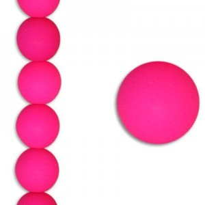 10mm Bright Neon Pink Smooth Round Czech Glass - 7 Inch Strand (Apx 18 Beads)