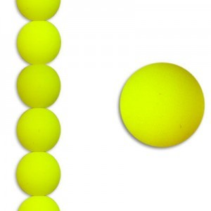 8mm Bright Neon Yellow Smooth Round Czech Glass - 7 Inch Strand (Apx 22 Beads)