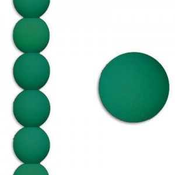 6mm Dark Neon Emerald Smooth Round Czech Glass - 7 Inch Strand (Apx 29 Beads)