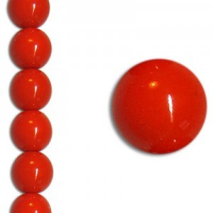 10mm Neon Coral Party Pearl Smooth Round Czech Beads (Apx 7 Inch Strand / 18 Beads)