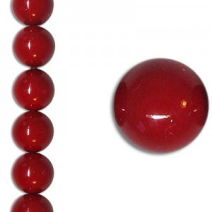 8mm Neon Dark Red Party Pearl Smooth Round Czech Beads (Apx 7 Inch Strand / 22 Beads)