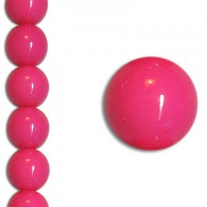10mm Neon Pink Party Pearl Smooth Round Czech Beads (Apx 7 Inch Strand / 18 Beads)