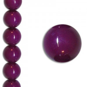 8mm Neon Purple Party Pearl Smooth Round Czech Beads (Apx 7 Inch Strand / 22 Beads)