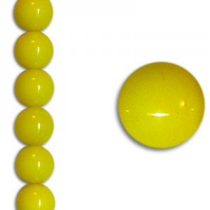 10mm Neon Yellow Party Pearl Smooth Round Czech Beads (Apx 7 Inch Strand / 18 Beads)