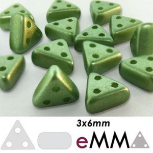 eMMA® 3-Hole Bead 3x6mm Pastel Olivine - 25 Gram Bag (Apx 175 Pcs)