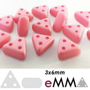 eMMA® 3-Hole Bead 3x6mm Matte Pink - 25 Gram Bag (Apx 175 Pcs)
