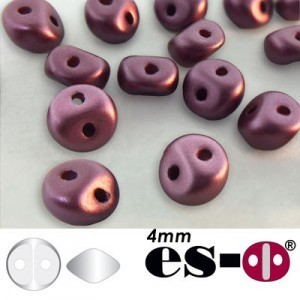 ES-O® Mini 2-Hole Czech Glass Beads 4mm Pastel Burgundy - 25 Gram Bag (Apx 400 Pcs)