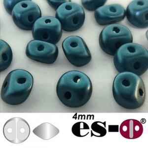 ES-O® Mini 2-Hole Czech Glass Beads 4mm Pastel Petrol - 25 Gram Bag (Apx 400 Pcs)