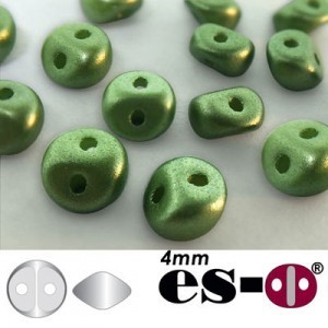 ES-O® Mini 2-Hole Czech Glass Beads 4mm Pastel Olivine - 25 Gram Bag (Apx 400 Pcs)