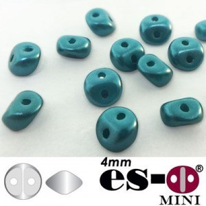 ES-O® Mini 2-Hole Czech Glass Beads 4mm Pastel Blue Zircon - 25 Gram Bag (Apx 400 Pcs)