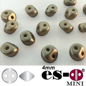 ES-O® Mini 2-Hole Czech Glass Beads 4mm Cocoa Airy Pearl - 25 Gram Bag (Apx 400 Pcs)