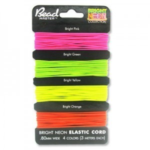 Elastic Stretchy Cord 0.8mm 3m X 4 Bright Neon Colors on Card