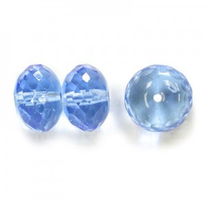 11x17mm Sapphire (Light) Faceted Puffy Rondelles with 1.5mm Hole