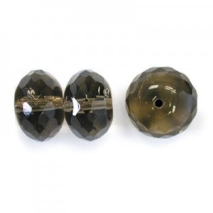 11x17mm Black Diamond Faceted Puffy Rondelles with 1.5mm Hole