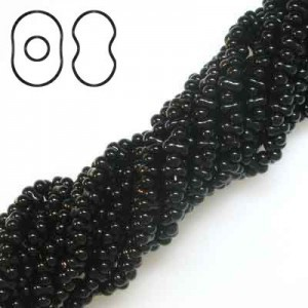 Farfalle 2x4mm Jet - 6 Strings of 20 Inch (Apx 1740 Czech Glass Beads, 52 Gm)
