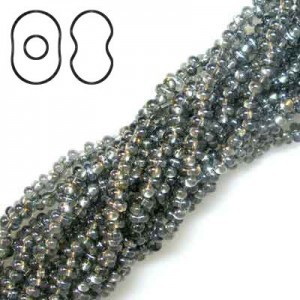Farfalle 3.2x6.5mm Blk Diam Luster S/L - 6 Strings of 20 Inch (Apx 936 Czech Glass Beads, 125 Gm)