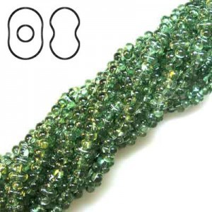 Farfalle 3.2x6.5mm Lumi Green - 6 Strings of 20 Inch (Apx 936 Beads, 125 Gm)