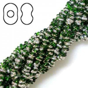 Farfalle 3.2x6.5mm Green Labrador - 6 Strings of 20 Inch (Apx 936 Beads, 125 Gm)